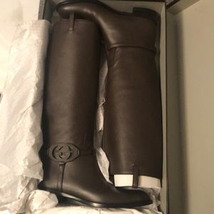 NWT Gucci Brown Leather Riding Boots
